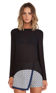 BLAQUE LABEL Sheer Long Sleeve Top en Noir
