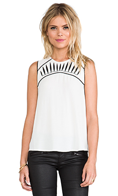 bless'ed are the meek Contrast Top in Ivory/Black