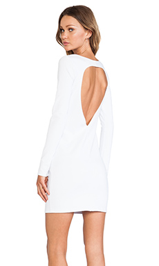 BLQ Basics Cut Out Back Long Sleeve Dress in White