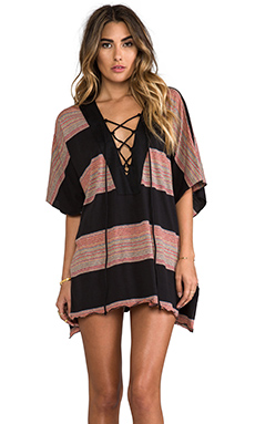 Blue Life Placket Caftan in Boho Stripe