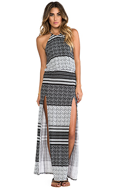 Blue Life Halter Two-Slit Maxi Dress in Aztec Stripe