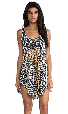 Blue Life Baby Doll Tank Dress in Leopard