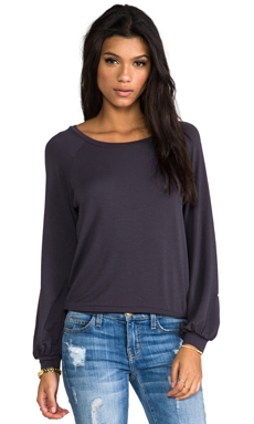 Blue Life Bell Sleeve Sweatshirt in Faded Black