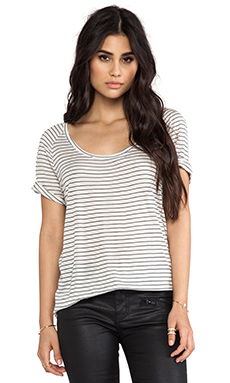 Bella Luxx Contrast Back Panel Tee in Monterey Stripe & Black