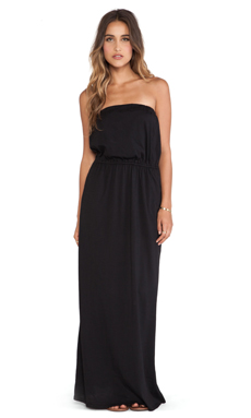Bobi Supreme Jersey Strapless Maxi Dress in Black