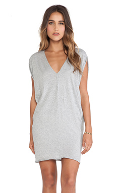 Bobi Light Weight Jersey Batwing Dress in Heather Grey