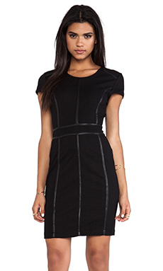 Bobi Body Con Dress with Leather Trim in Black