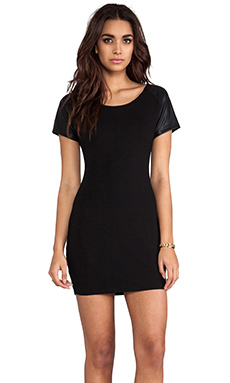 Bobi Leather Sleeve Dress in Black