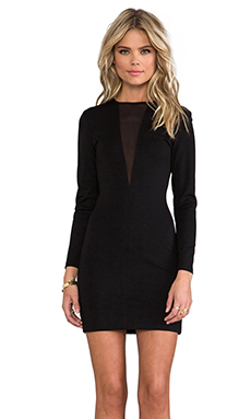 Bobi Ponte & Mesh Long Sleeve Dress in Black