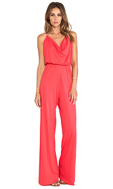 Bobi Jersey Drape Neck Jumpsuit in Berry Red
