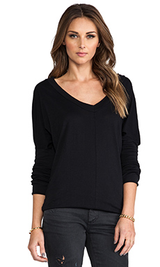 Bobi Long Sleeve Jersey V-Neck in Black
