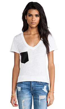 Bobi Linen Tee with Leather Pocket in White