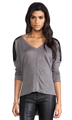 Bobi Linen Long Sleeve with Leather in Boboli