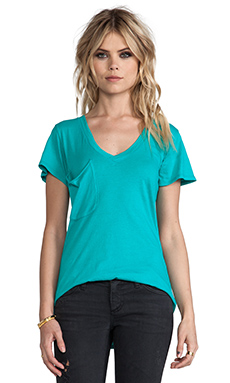 Bobi Light Weight Jersey V Neck Pocket Tee in Cabana