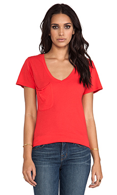 Bobi Light Weight Jersey V Neck Pocket Tee in Lover