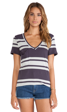 Bobi Light Weight Jersey Striped Pocket Tee in Deep Grey & Shore
