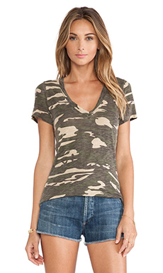 Bobi V Neck Short Sleeve Tee in Camo