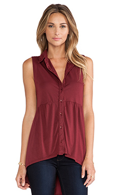 Bobi Collared Peplum Tank in Vineyard