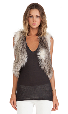 BSABLE Gina Faux Fur Vest en Mixed Raccoon