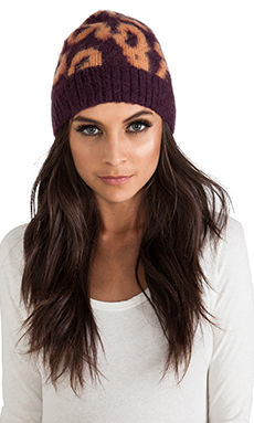 By Malene Birger Soft Jacquard Balou Beanie in Italian Plum