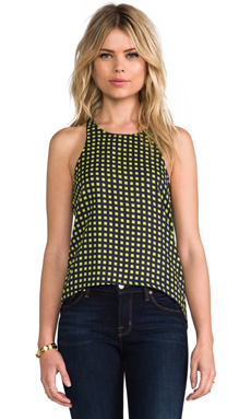 camilla & marc C&M Sweeter Life Check Print Racer Tank in Navy
