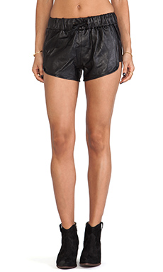 Capulet Leather Gym Shorts in Black
