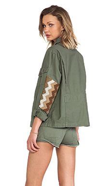 Capulet Embellished Military Jacket in Olive