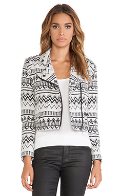 Capulet Moto Jacket in Black & White Santa Fe Jacquard