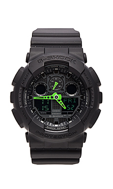 G-Shock GA-100 Neon Highlights in Black/Green