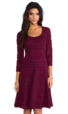Catherine Malandrino Assunta Long Sleeve Fit and Flare Dress in Burgundy/Noir
