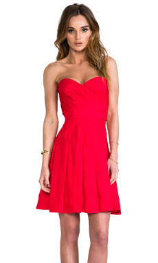 Catherine Malandrino Benita Bustier Dress in Vermilion