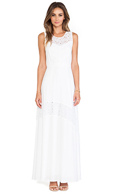 Catherine Malandrino Gianna Lace Detail Maxi Dress in Blanc