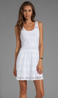 C&C California Crochet Lace/Slub Jersey Mix Crochet Flare Tank Dress in White