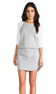C&C California 3/4 Sleeve Raglan Dress in Heather Grey