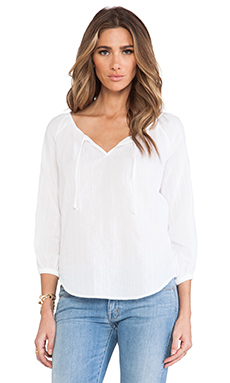 C&C California Textured Cotton 3/4 Sleeve Peasant Top With Lace Blouse in White