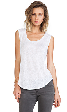 C&C California Seamed Sleeveless Tee in White