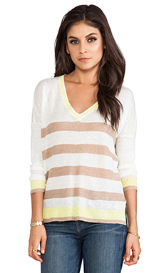 Central Park West Zanzibar Stripe Sweater in Sand Multi