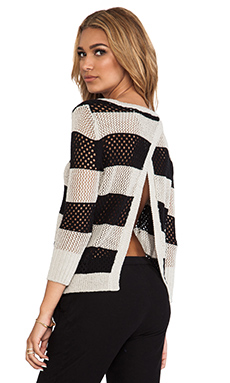 Central Park West Borneo Striped Pullover in Stone & Black