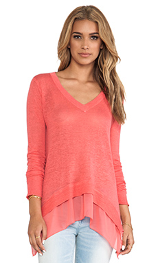 Central Park West Sao Paulo Pullover in Bright Coral