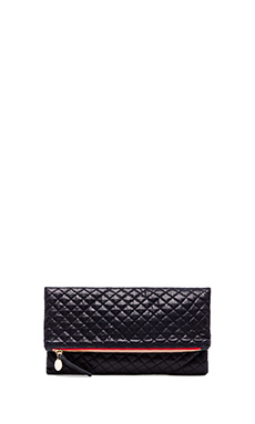 Clare Vivier Foldover Clutch in Navy Quilted