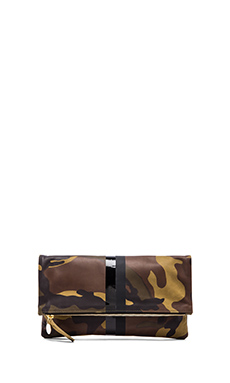 Clare Vivier Foldover Clutch in Green Camo