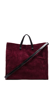 Clare Vivier Simple Tote in Oxblood Suede