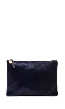 Clare Vivier Flat Clutch in Navy Hair