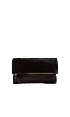 Clare Vivier Foldover Clutch in Black Hair