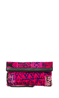 Cleobella Harlow Clutch in Black & Fuschia