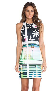 Clover Canyon Garden Plaid Neoprene Dress in Black