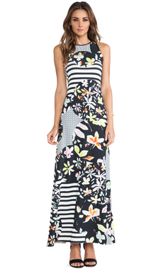 Clover Canyon Floral Discs Maxi Dress in Black