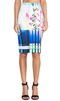 Clover Canyon Hollywood Bowl Neoprene Skirt in Multi