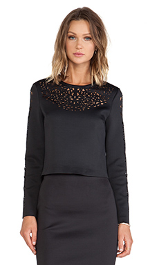 Clover Canyon Lasercut Neoprene Top in Black
