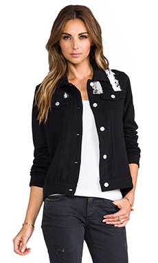 Chaser Antique Flag Denim Jacket in Black